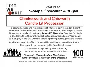 Charlesworth and Chisworth  Candle Lit Procession